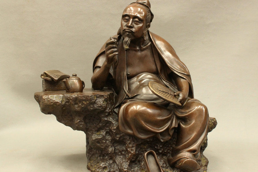 Old Man Chinese Bronze Statue