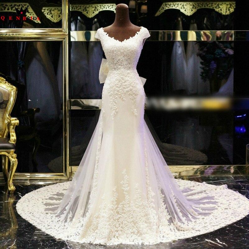 Personnalisé sirène Cap manches Tulle dentelle perles perlées robes de mariée Sexy longues robes de mariée formelles vraies Photos XJ05
