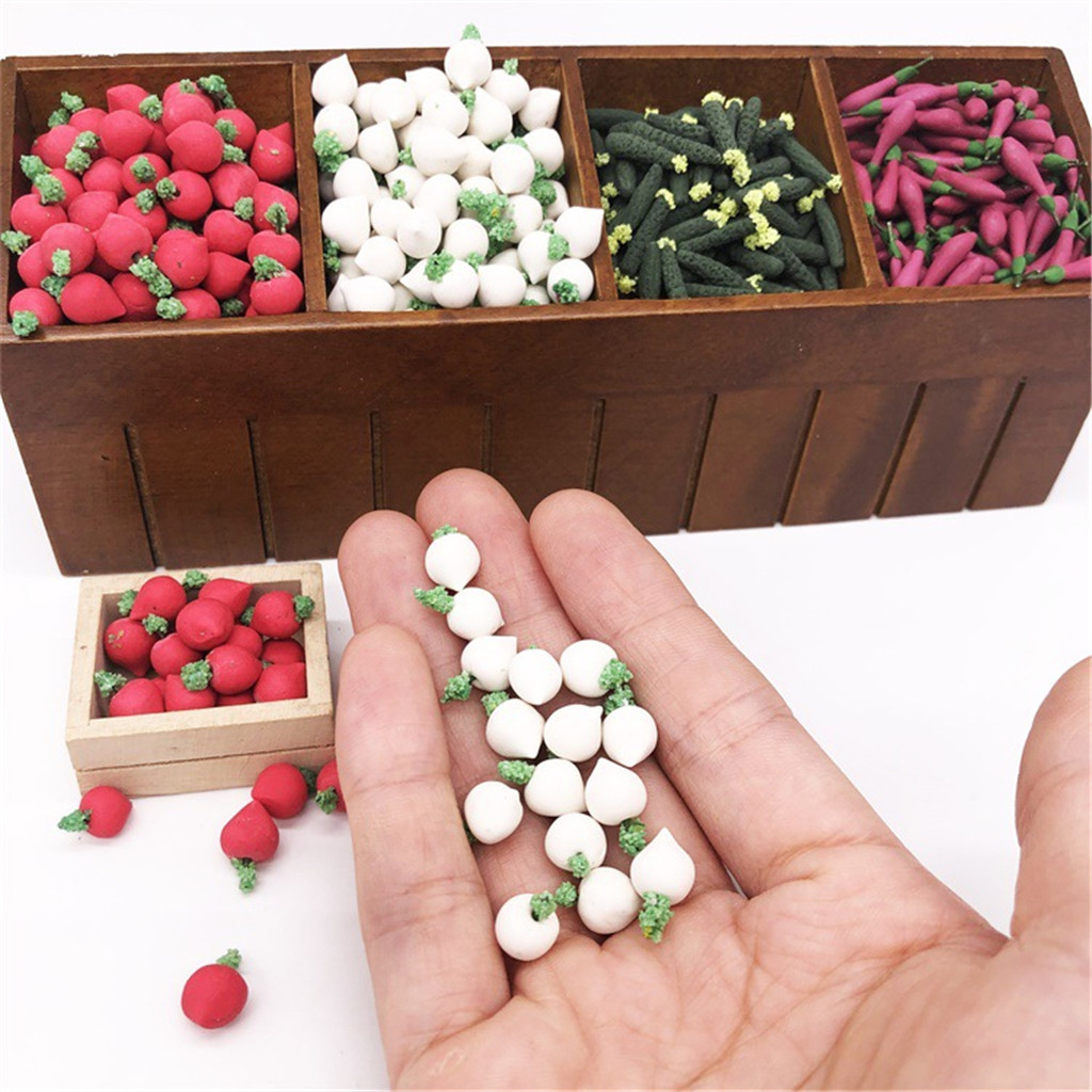 10Pcs 1:12 Dollhouse Miniature Vegetable Turnip Kitchen Dining Model Play Toy For Kitchen Acc Children Toys A625