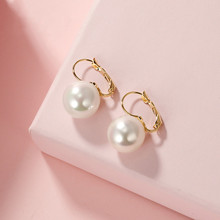 Dominated The new delicate temperament joker pearl earring contracted fashion metal Women Drop earrings Jewelry