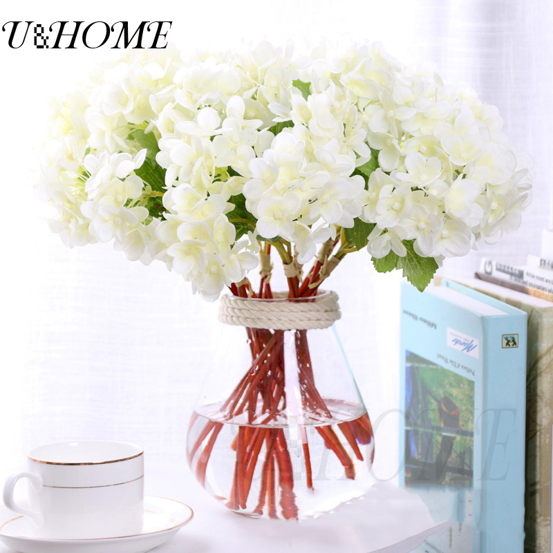 30pcslot artificial hydrangea silk flowers cheap fake flores for 30pcslot artificial hydrangea silk flowers cheap fake flores for party home wedding car decoration bulk real touch with stems in artificial dried flowers mightylinksfo