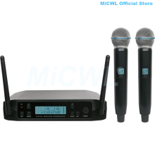 лучшая цена Pro QLX-D Receiver Beta58 UHF Dual Handheld Stage Wireless Microphone System Karaoke 2 Headset Lavalier Beige Mic Set