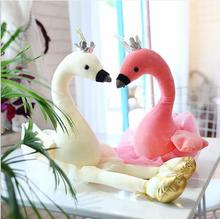 WYZHY Creative couple swan plush toy sofa bedroom decoration to send friends and children gifts 50CM