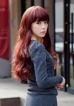 Wig Crimson Heat-resistant Fiber Blunt Fringe Womens Long Wig for women wig Free Shipping(China)