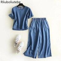 summer set women tecel denim blouse loose o neck soft jeans wide leg pants office set retro palazzo pants skirt pants
