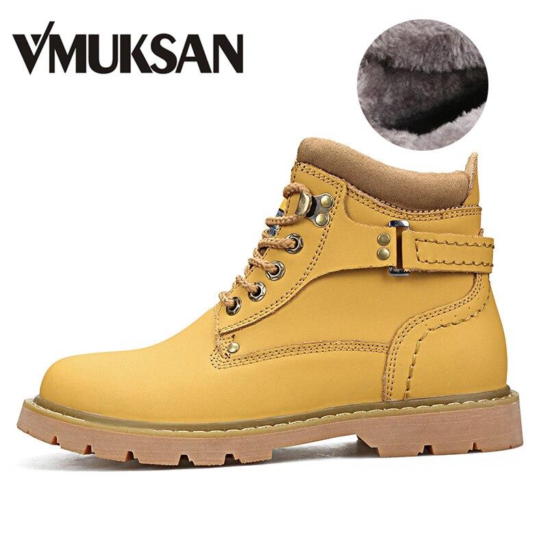 VMUKSAN Boots Men Boots High Quality Warm Furry Winter Boots Men Fashion Designer Shoes Men Winter