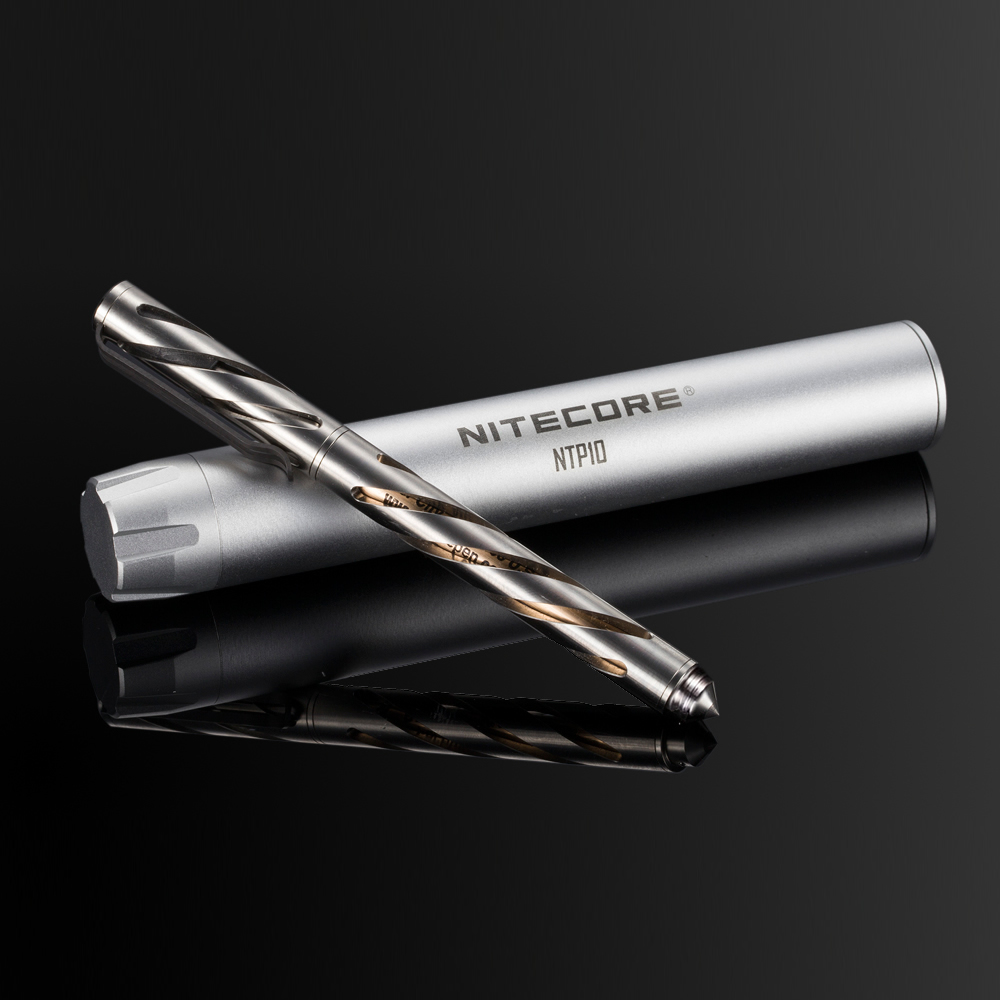 SALE NITECORE NTP10 Titanium Tactical Pen Hallow Carve Body Tungsten Steel Tapered Tip+ Matt Aluminum Alloy Pen Case Difesa Tool