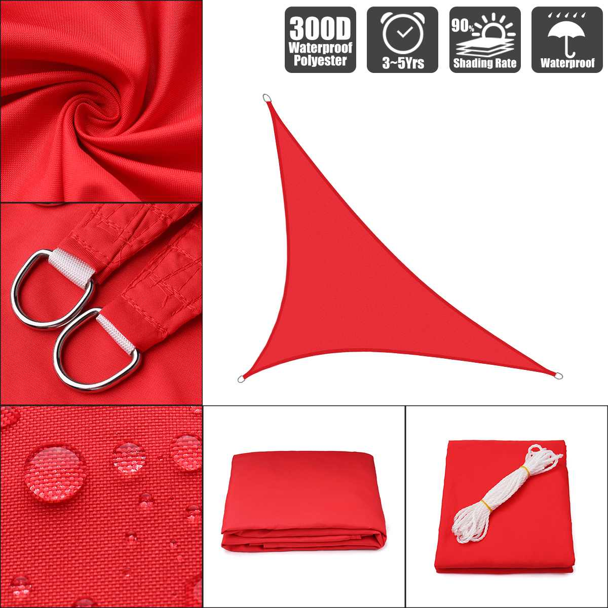 3x3x3 4x4x4 3x3x4.3 Bright red 300D polyester oxford equilateral right triangle visor sail pool cover sunscreen tent waterproof3x3x3 4x4x4 3x3x4.3 Bright red 300D polyester oxford equilateral right triangle visor sail pool cover sunscreen tent waterproof