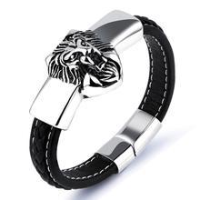 New Punk Style Genuine Leather Buddha Charm Bracelet Men Fine Jewelry Men Silver Stainless Steel Lion bracelets Bangles все цены