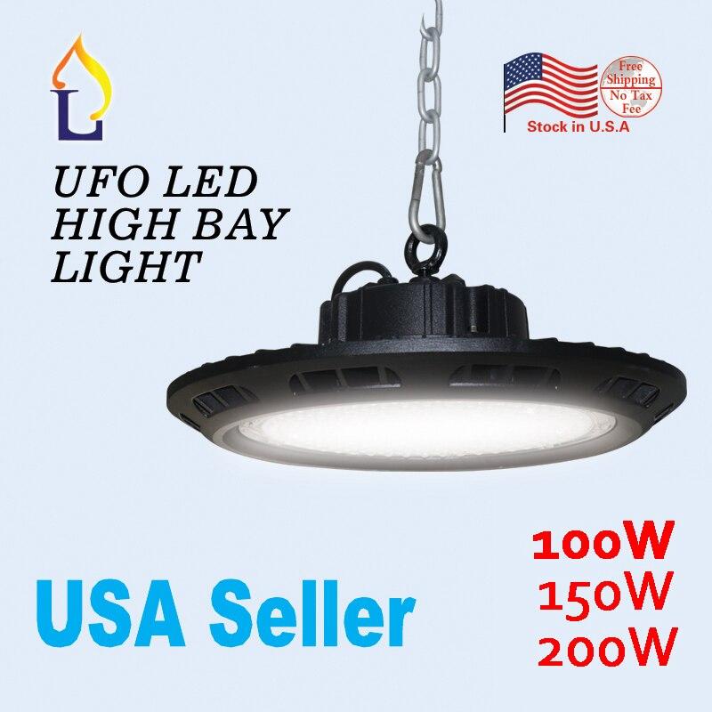 US stock 100W 150W 200W IP65 led UFO high bay light in industrial lighting outdoor LED Spotlight floodlights waterproof