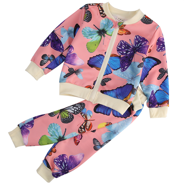 5345b562d509 2PCS Baby Girls Toddlers Kids Butterfly Flower Outfits Cardigan Tops ...