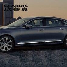 Автомобильный Стайлинг, Авто Боковая юбка, автомобильная наклейка из нержавеющей стали, боковой корпус, дверь, украшение, наклейка, Накладка для Volvo S90, авто аксессуары