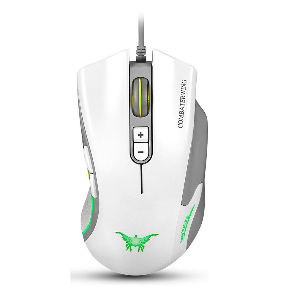 CW10 4800 DPI Wired Gaming Mouse Mice 7 Buttons Design 6 Breathing LED Colors Changing High Precision for Gamer PC MAC(white)