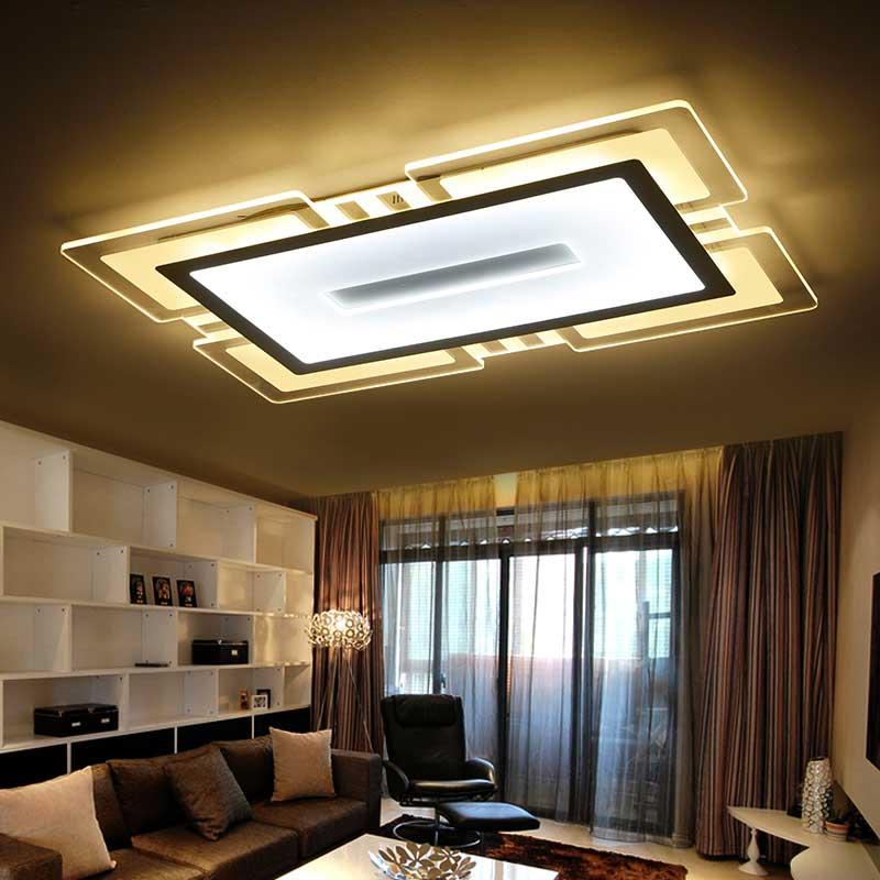 US $117.43 37% OFF|Moderne Led Decke Lichter Acryl Lampe Küche Wohnzimmer  Schlafzimmer Decor Indoor Hause Beleuchtung Weiß Eisen Leuchten AC 110 ...