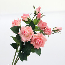 Flone Artificial Flowers 3 Heads Rose High Emulated Floral Artificial Flower Bouquet Branch Wedding Party Home Dining Room Decor