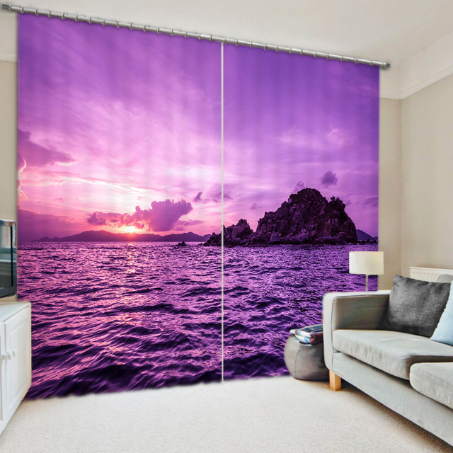 Shade Fabric Coast scenery Printing Blackout 3D Curtains For Living ...