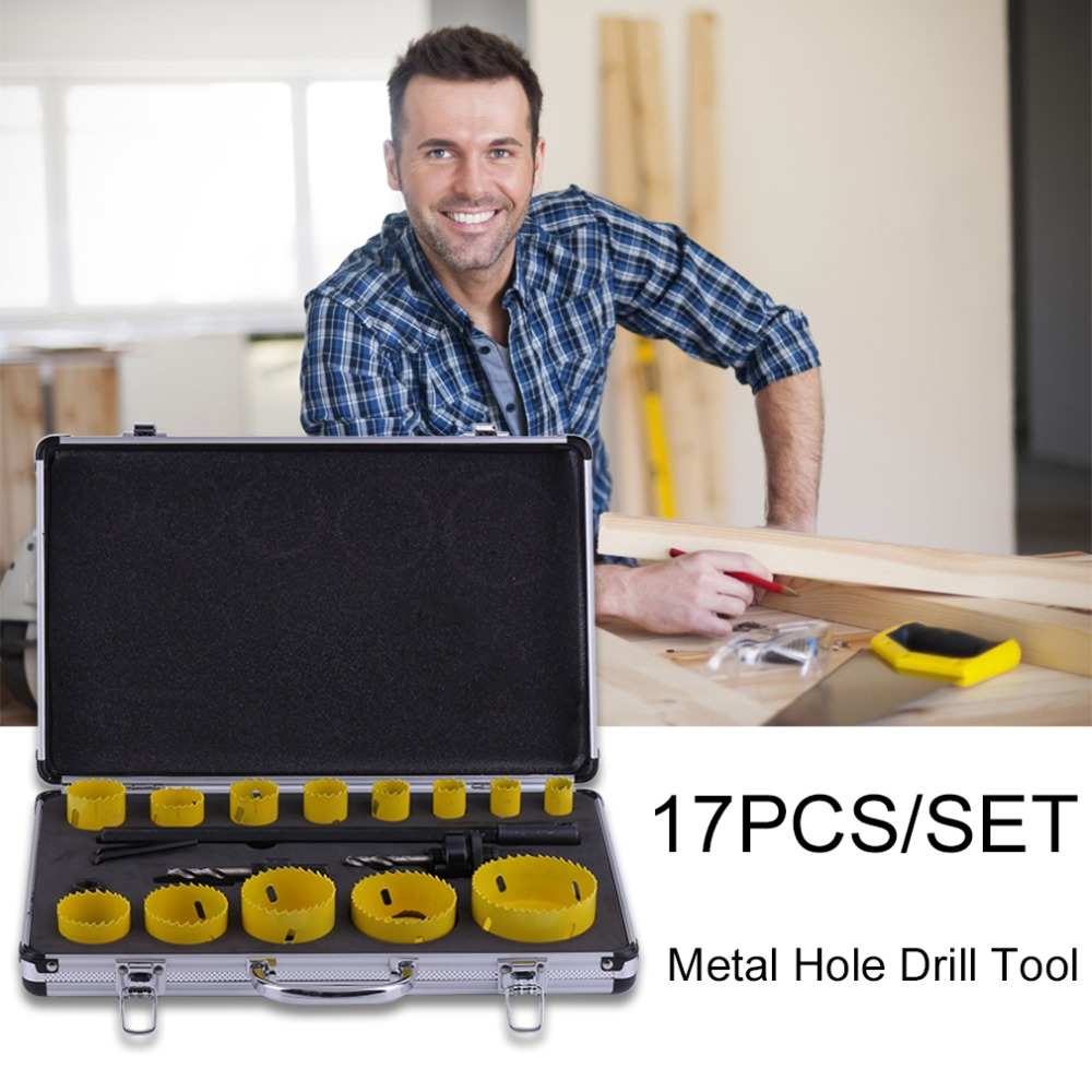 17PCS/SET Compact Size Wood Working Open Hole Tool Set DIY Hand Metal Hole Drill Opening Cutting Tools Device Set Professional