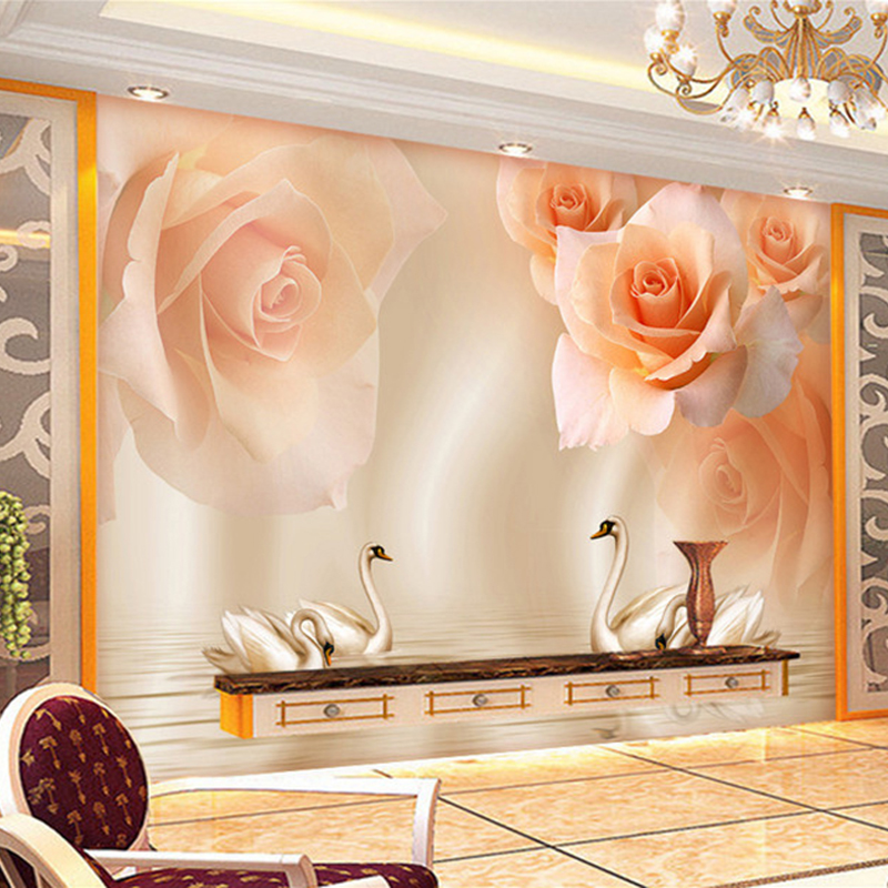Custom photo wall mural painting yellow rose swan modern for Custom photo mural