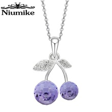 Niumike Jewelry Necklace Women Silver Zinc Alloy Grape shaped Embellished with crystals from Swarovski  Necklace Birthday Gift цена в Москве и Питере