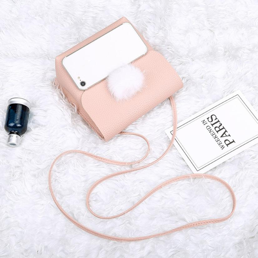 Maison Fabre wallet Women 2018 fashion ladies hair ball solid color shoulder Messenger bag pu wild mobile phone bag purse May3