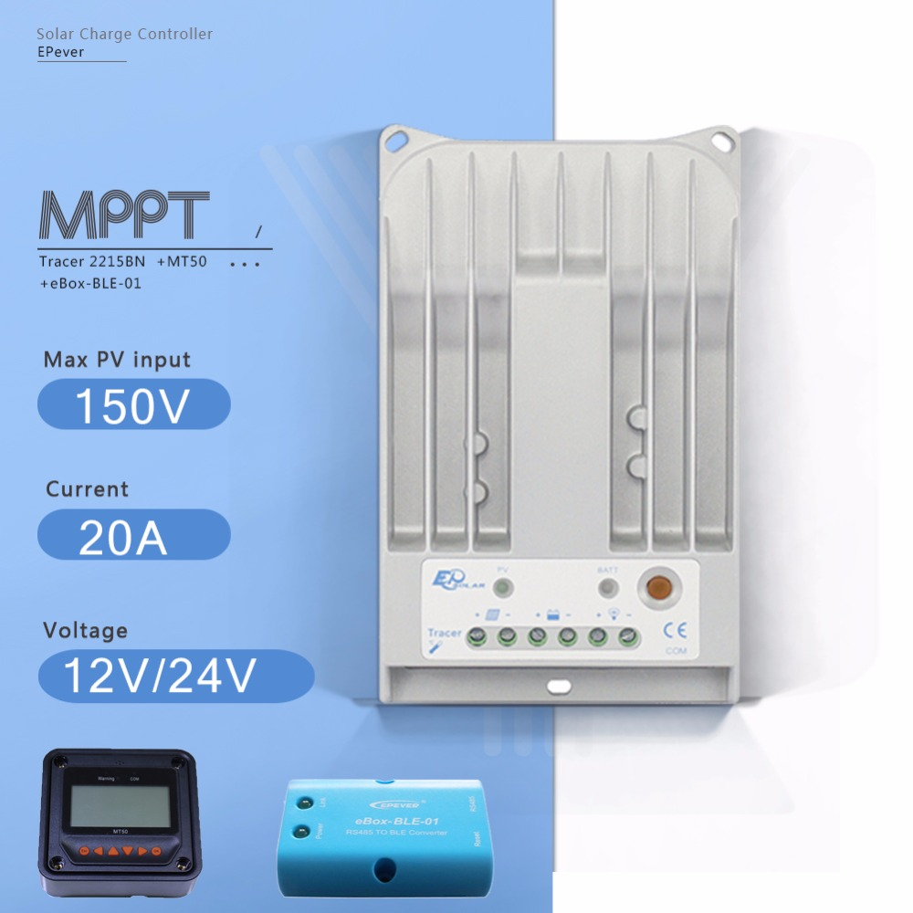 Tracer 2215BN 20A MPPT Solar Charge Controller 12V/24V Auto Solar Panel Battery Charge Regulator with EBOX-BLE and MT50 Meter two color choices mt50 solar regulator 20a mppt tracer2210a with ble and sensor for 12v 24v auto work