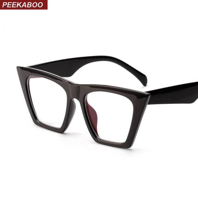 6960506e1a32 Peekaboo black cat eye glasses frames for women brand designers 2018 cheap  eyewear frames female male