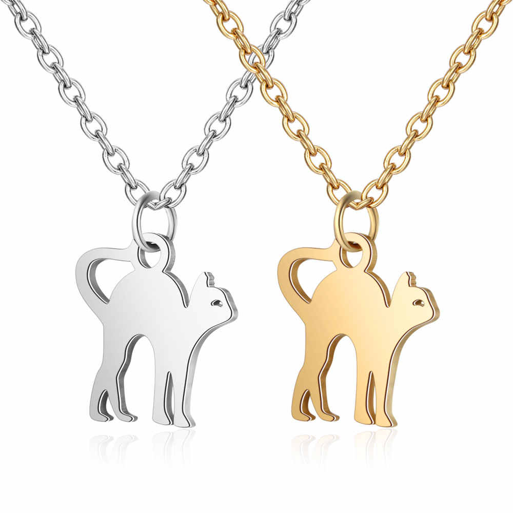 100% Stainless Steel Cute Cat Charm Necklace Vnistar Simple Design Pet Cat Pendant Necklaces Cats Women's Jewelry Necklace