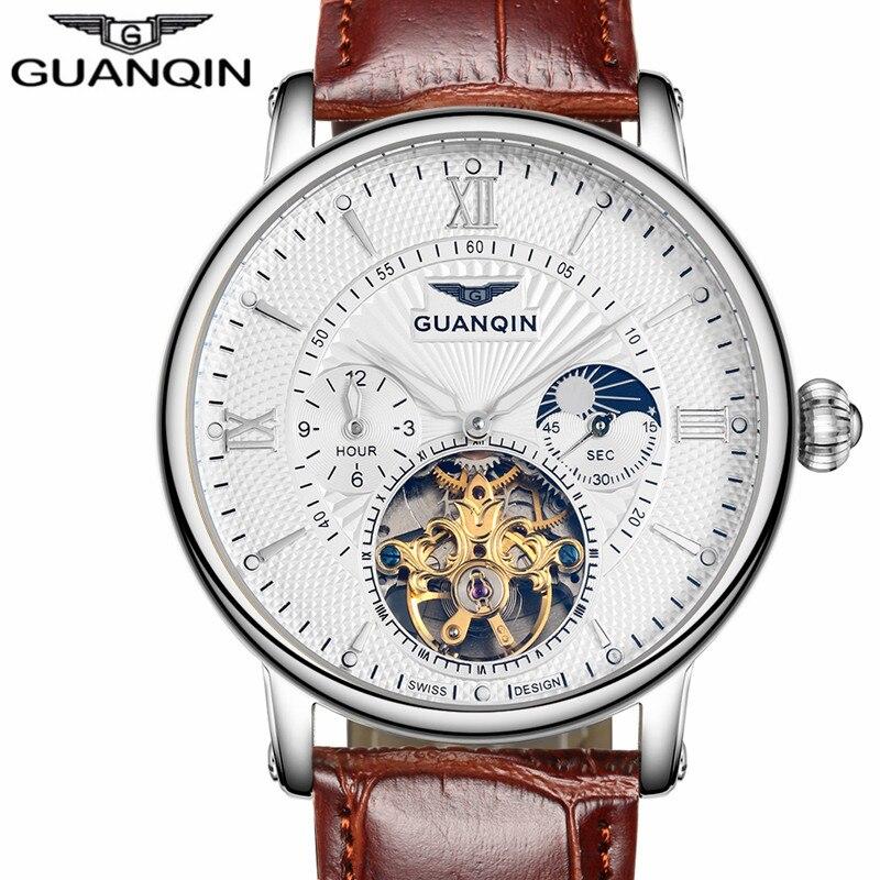 Мужские часы автоматические механические часы Tourbillon часы кожа повседневная бизнес смотреть top brand спортивные часы relogio masculino