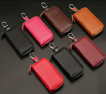 Keychain Key Case Genuine Leather Car Key Bags For Men Women 100% Cowhide Key Holder Bag Housekeeper Zipper Key Card Package