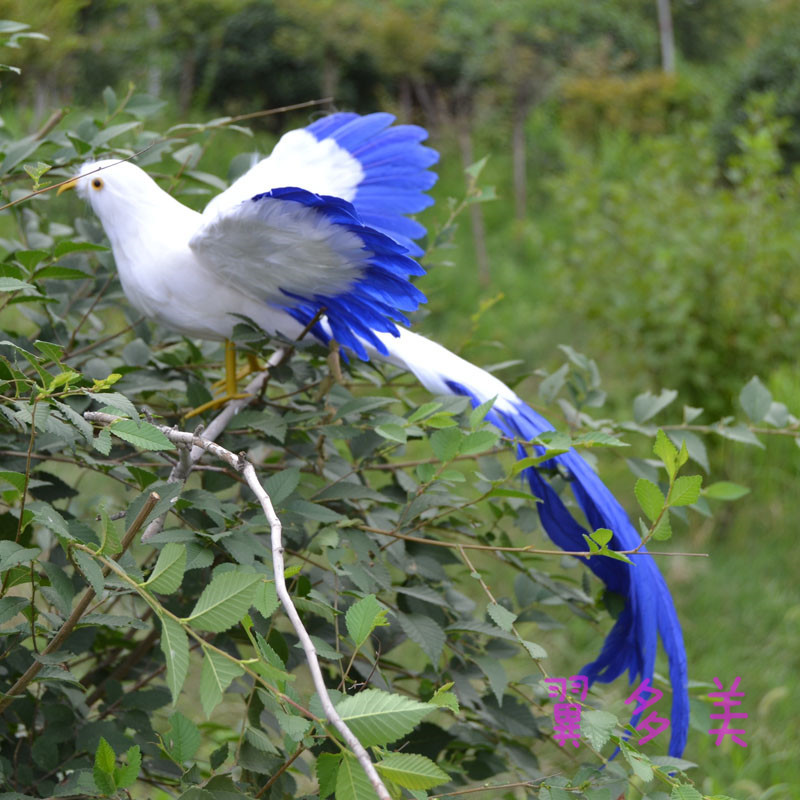 beautiful simulation flying Phoenix Bird toy white and blue long-tailed bird gift about 50cm dd001891 beautiful white