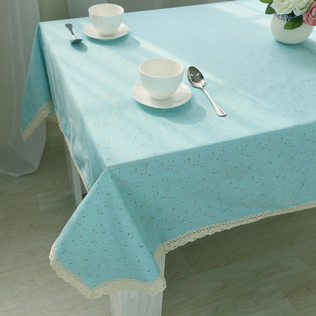 Small Flowers Pastoral Fresh Cotton Printed Dining Tablecloth Rectangle  Square Tablecloth Multifunction Tablecloth Blue Orange