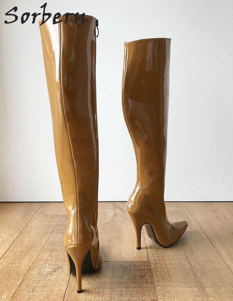 Neue Für Sorbern Nach Ingwer Frauen Hohe Color Spitze Custom Knie Stiefel ginger Autum Yellow Zehen Schuhe Winter Gelb Lange 2019 Shiny pgpCwqa