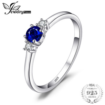 cd88e53e554e JewelryPalace Classic 925 CT redondo creado zafiro 3 piedras compromiso  promesa anillo plata esterlina moda anillos para mujeres