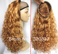 HOT SALE Synthetic Wigs for Women Half Head Wigs Hair Party Wig Curly Hair Style Golden Brown with 5 More Colors
