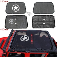 Durable For Jeep Wrangler JK JKU Mesh Sun Shade Full Top Cover UV Protection with Storage Pockets 2/4 Door