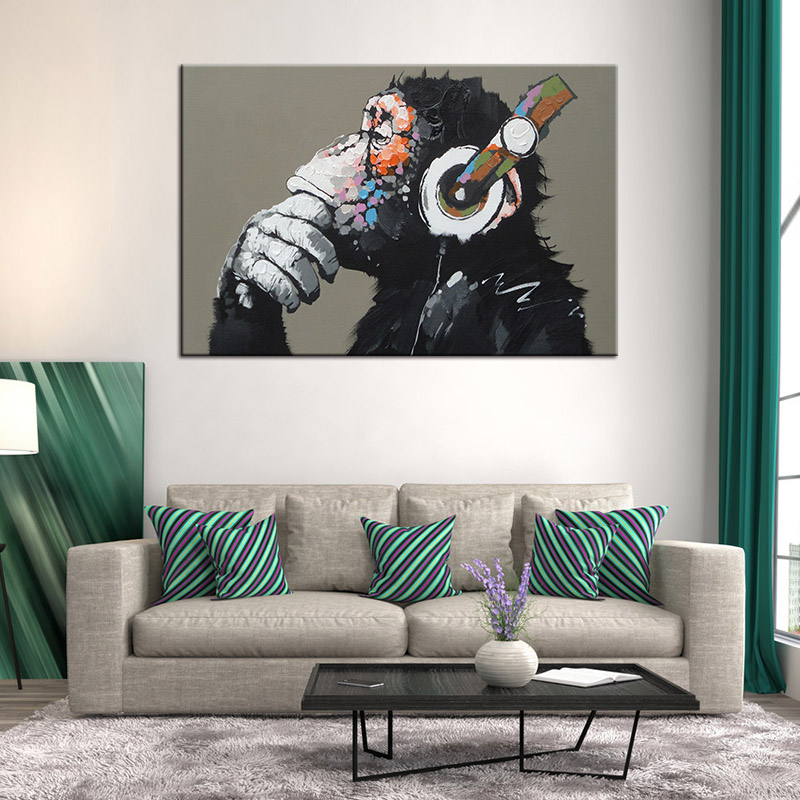 Large Animal Monkey Canvas Printed Painting Modern Funny Thinking Monkey With Headphone Wall Art for Living Room