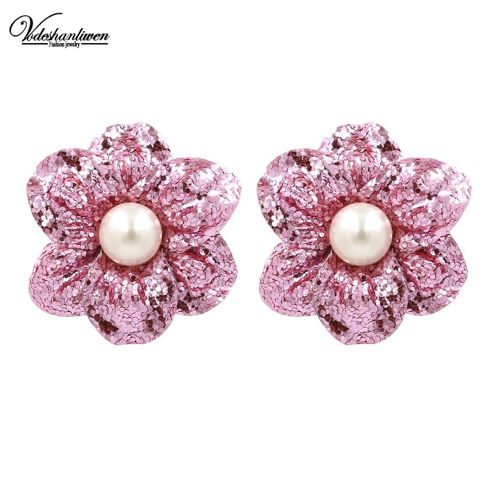 Vodeshanliwen New Shiny Paillette Flowers Stud Earrings for Women Fashion Bohemian Wedding Statement Big Earrings Wholesale