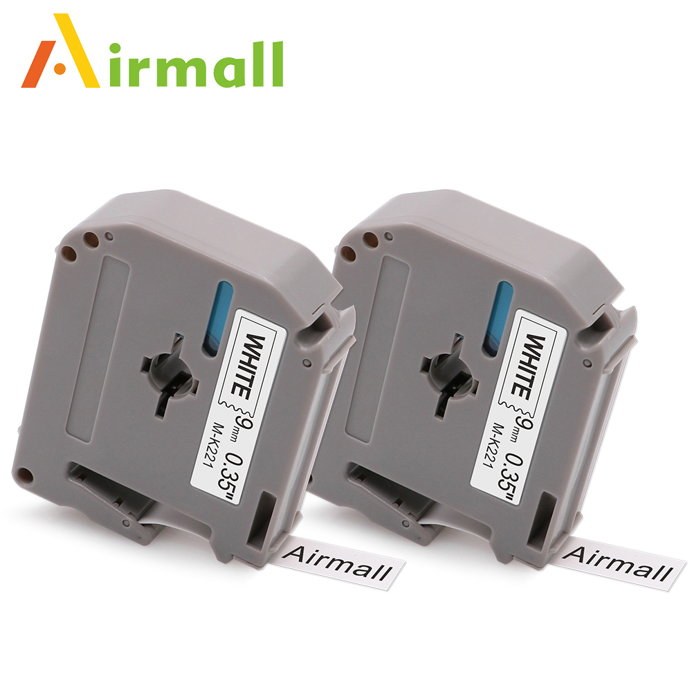 Airmall 2pcs Compatible Brother P-touch M Tape M221 M-K221 MK221 Black on White Label Printer Brother P Touch Label Maker Ribbon