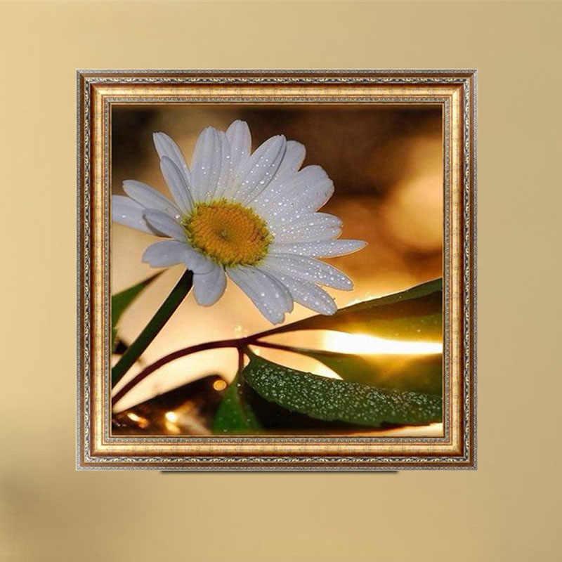 1PC Bunga DIY 5D Lukisan Berlian Embun Cross Stitch Dekorasi Diamond Bordir Broderie Diamant Lukisan Tiara Baru