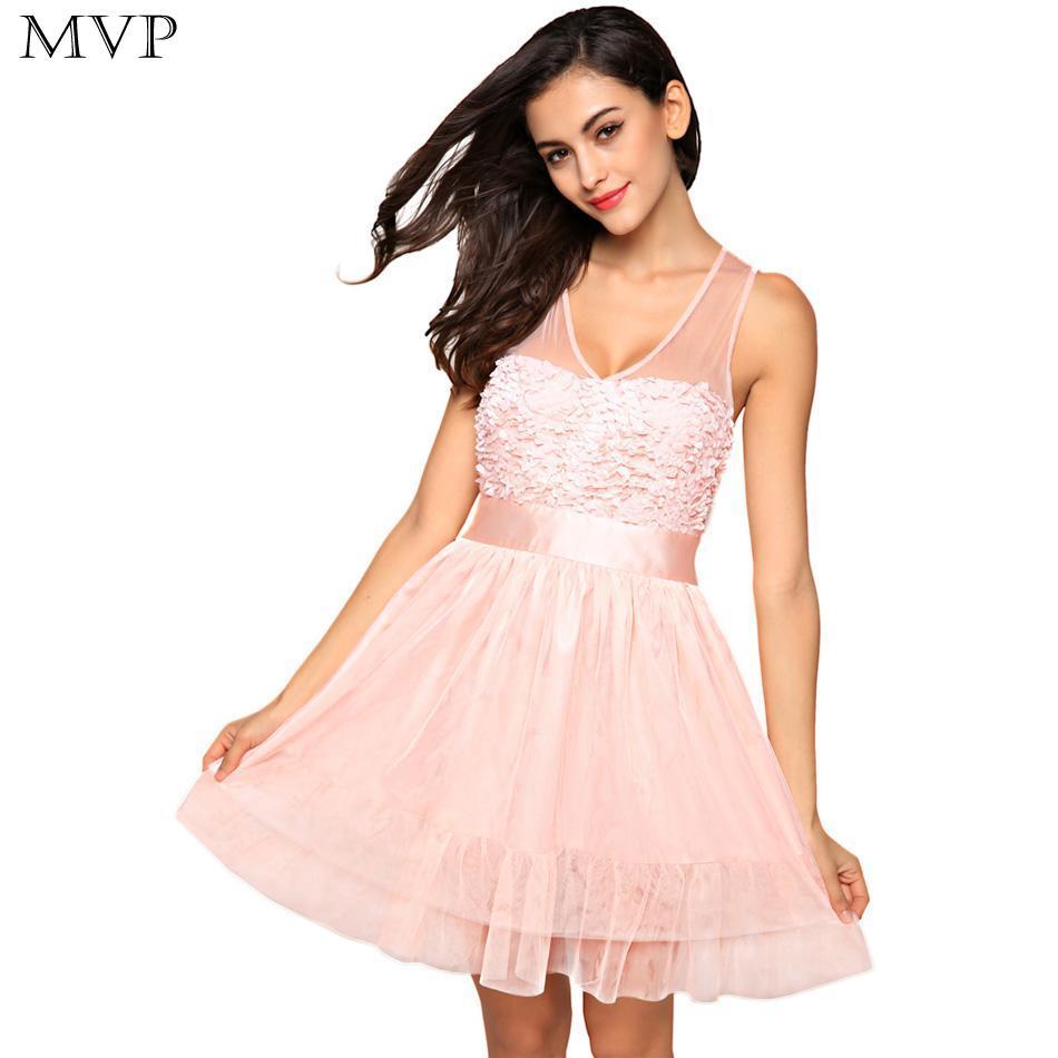 Sleeveless Women Fashion Sexy V Neck Zeagoo High Waist Sheer Mesh Patchwork Floral Sweet Short Dress