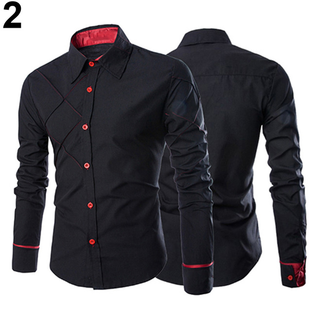 Men Casual Business Buttoned Formal Long Sleeve Grid Slim Fit