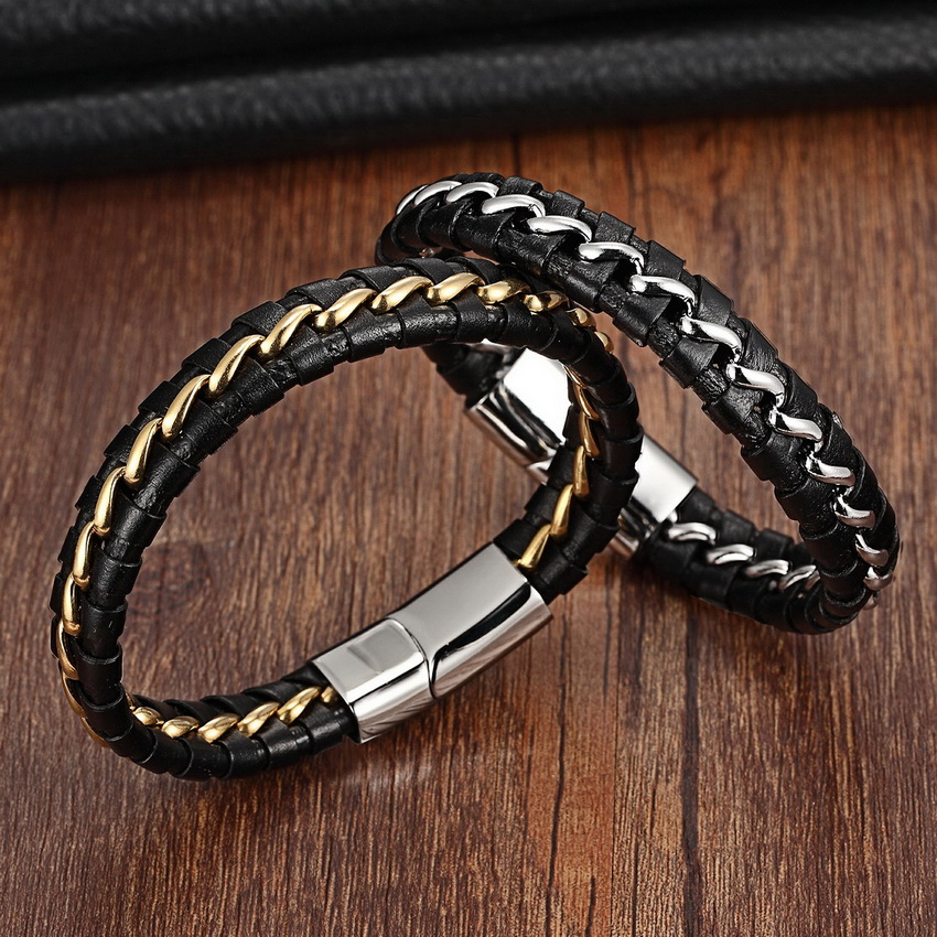 Black 316L Stainless Steel Genuine Leather Bracelet For Women Men Leather Knitted Magnetic Clasp Bracelets & Bangles Men Jewelry