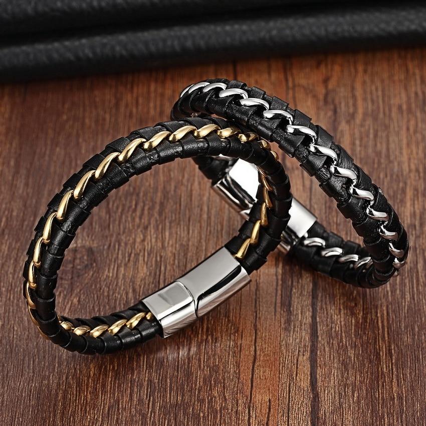 Svart 316L rustfritt stål ekte lær armbånd for kvinner menn lær strikket magnetisk lås armbånd og armbånd menn smykker