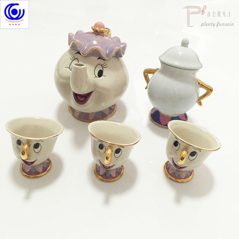 Hot sale New Cartoon Beauty and The Beast Tea Set Teapot Cup jar Mrs Potts Chip Mug Kettle Milk Coffee Sugar Xmas birthday Gift in Coffeeware Sets from Home Garden