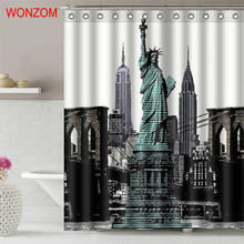 WONZOM Statue of Liberty Polyester Fabric Bridge Shower Curtain Bathroom Decor Scenery Waterproof Cortina De Bano With Hook 2017
