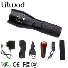 z30A100 LED Flashlight Torch tactical XM-L L2 5000LM Aluminum Waterproof Zoomable light 18650+AC charge+Car charge+USB+cover