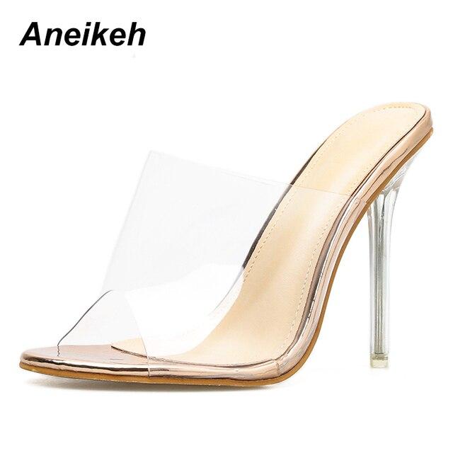 site réputé b0a61 9cb06 € 14.14 46% de réduction|Aneikeh grandes chaussures 41 42 PVC gelée  sandales bout ouvert talons hauts femmes Transparent Perspex pantoufles  chaussures ...