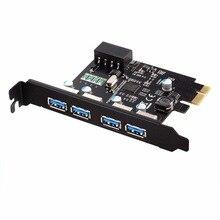 4 Порта USB 3.0 Для PCI-e Контроллер Карты Расширения PCI Настольный Компьютер Новый