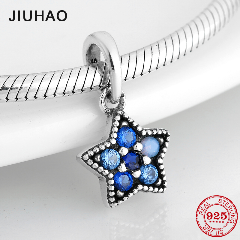 Blue CZ Shining Star shape 925 Sterling Silver fine Pendants Beads Fit Original Pandora Charms Bracelet Jewelry makingBlue CZ Shining Star shape 925 Sterling Silver fine Pendants Beads Fit Original Pandora Charms Bracelet Jewelry making