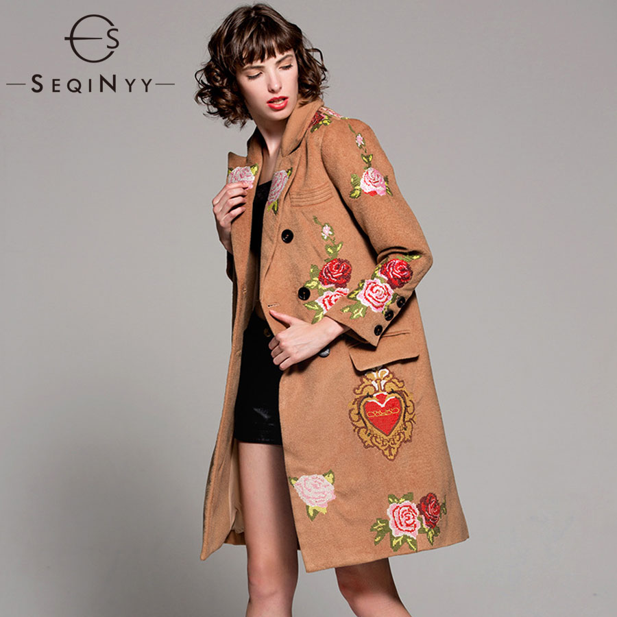 SEQINYY Embroidered Coat Heart Flowers 2018 Winter Autumn Fashion High Quality New Women's Long Khaki Wool Coat